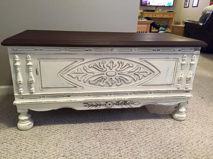 Lane Cedar Chest painted in Old White and distressed.  Top stained with Old Walnut.