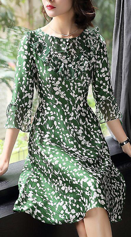 Casual O-Neck Flare Sleeve Print A-Line Dress