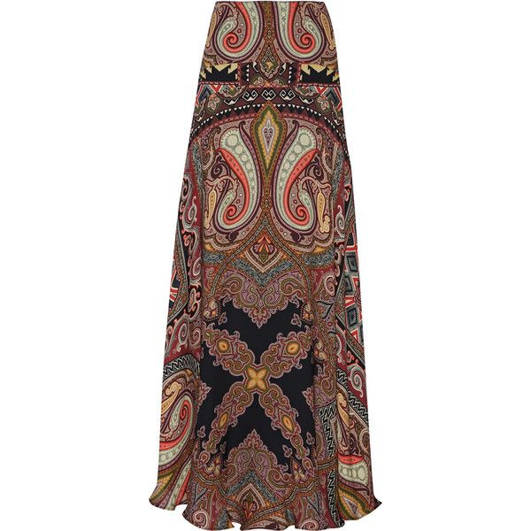 Etro Printed silk-georgette maxi skirt ($1,350) ❤ liked on Polyvore featuring skirts, saia, bottoms, maxi skirts, long flare skirt, paisley skirt, multi colored maxi skirt, multi color maxi skirt and floor length skirt