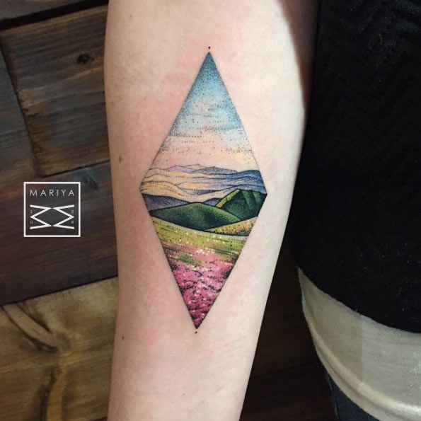 Colorful Landscape Tattoo by Mariya Summer