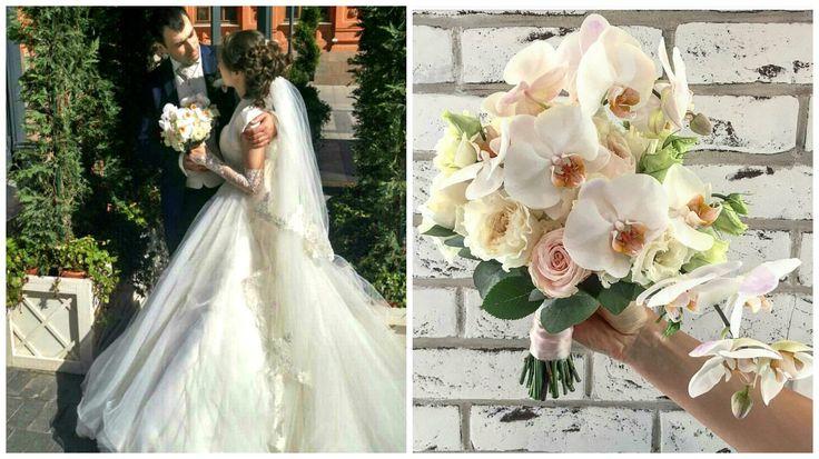 Парящий букет невесты на основе фаленопсиса, кружевной лизиантус и ароматная роза  Девида Остина