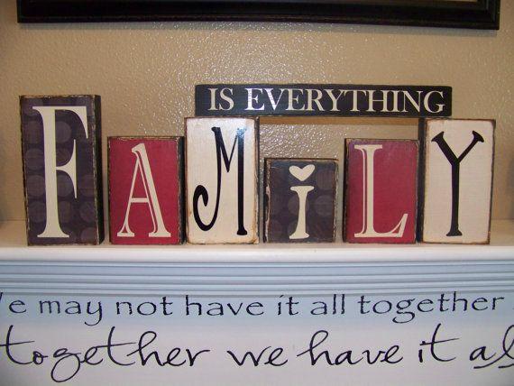 Family Is Everything Vinyl Lettering Blocks