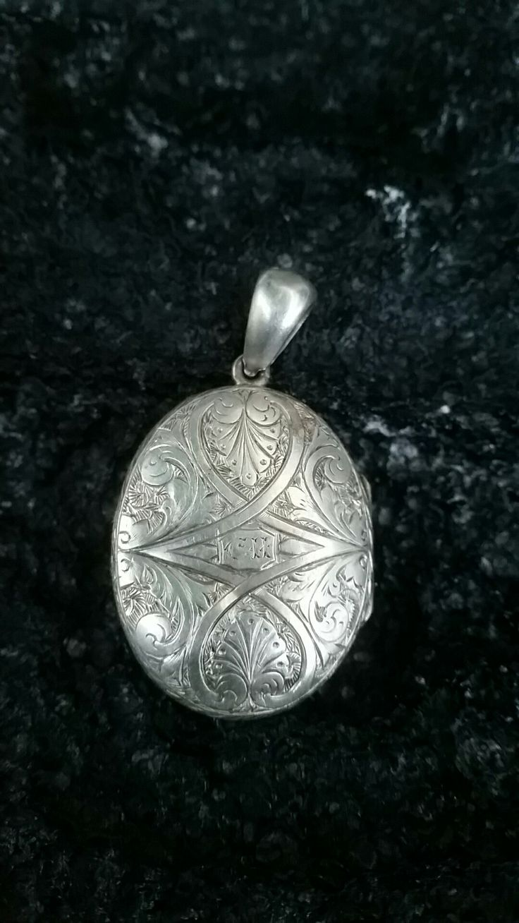 Antique Hand Engraved Unmarked Silver Locket