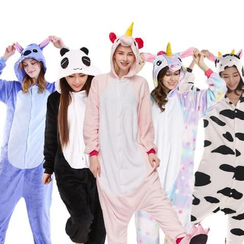 Halloween Autumn and Winter Pajama Sets Cartoon Sleepwear Women Pajamas  Christmas Flannel Animal Stitch Kigurumi Unicorn pajams 43002c94b