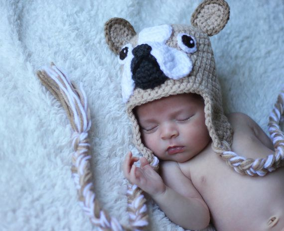 Bulldog Hat Newborn Bulldog Hat Kids Bulldog by DeesCozyCreations