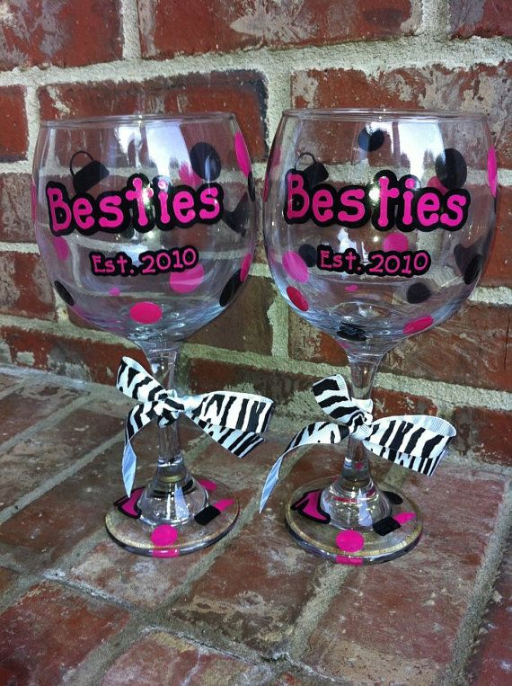 Decorated Wine Glasses Best Friends