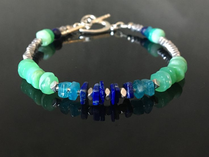 A personal favourite from my Etsy shop https://www.etsy.com/no-en/listing/536124419/chysophase-bracelet-apatite-birthstone