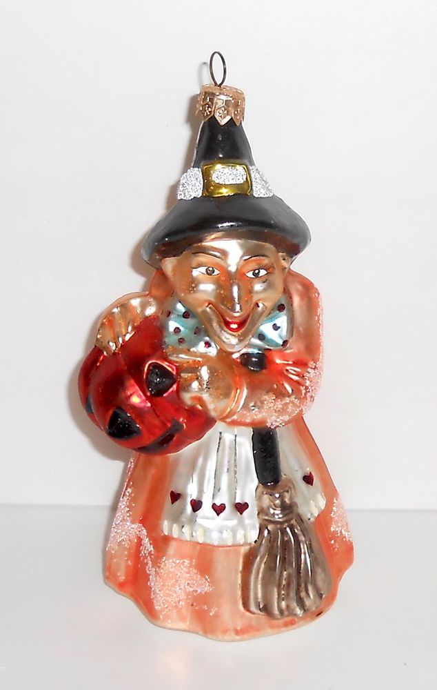 Christopher Radko Ornament AGNES and ENDORA Halloween Witch Gem Glass Retired #ChristopherRadko