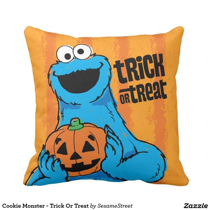 Cookie Monster - Trick Or Treat. Regalos, Gifts. Decoración para el hogar. Home decoration. #cojín #pillow