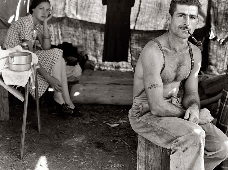 No#-535-07-5248 and Wife by Dorothea Lange