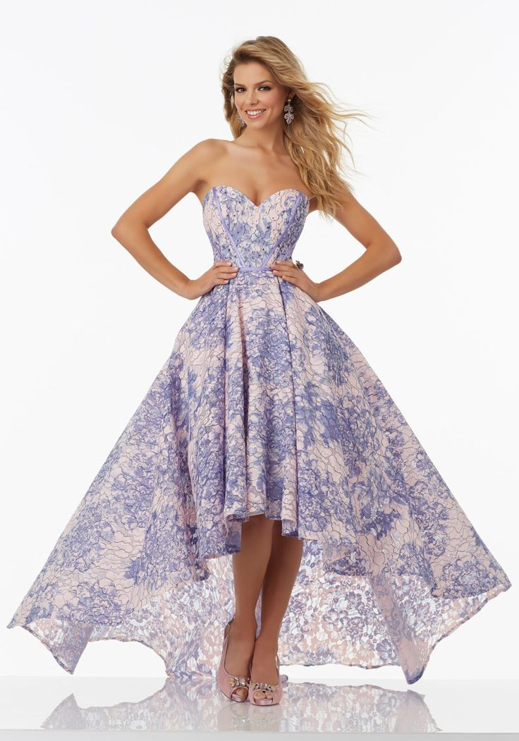 Floral Printed Lace Prom Dress with Hi-Low Hem and Sweetheart Neckline | Morilee