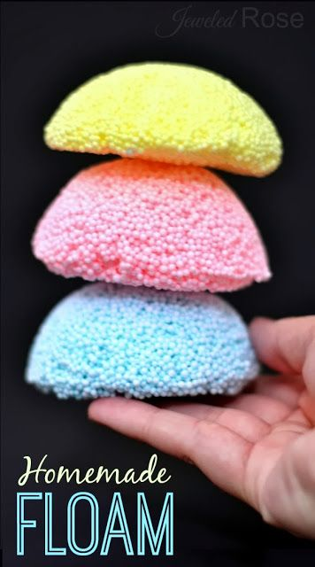 Homemade floam -2 tsp of borax  1/2 cup of warm water & 1/4 cup of warm water- divided  2 oz of white school glue 1 & 1/3 cups of polystyrene beads Optional: 3-5 drops of food coloring if color is desired