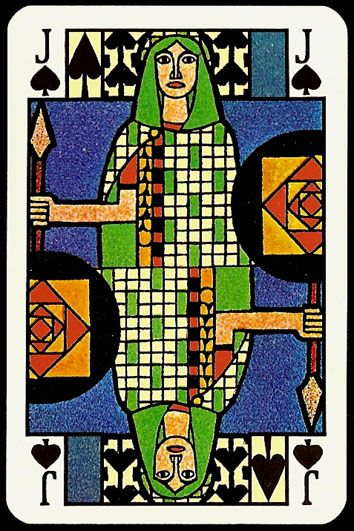 jugendstil playing card - jack of spades
