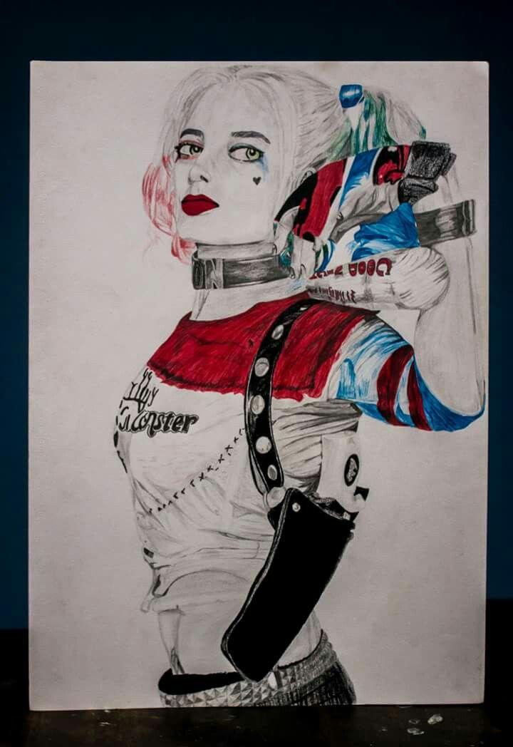 Harley quinn  Dibujo a lápiz y esfero