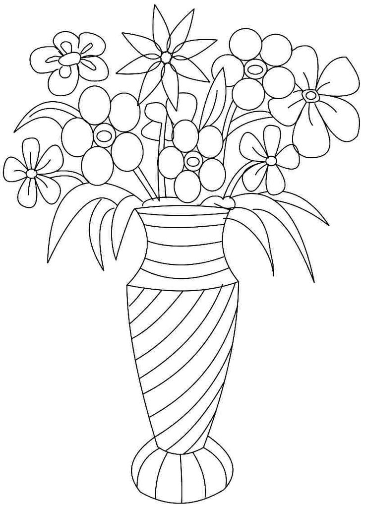 Colouring Pages Of Flowers In Vase : 131 best floral and bouquet images on pinterest