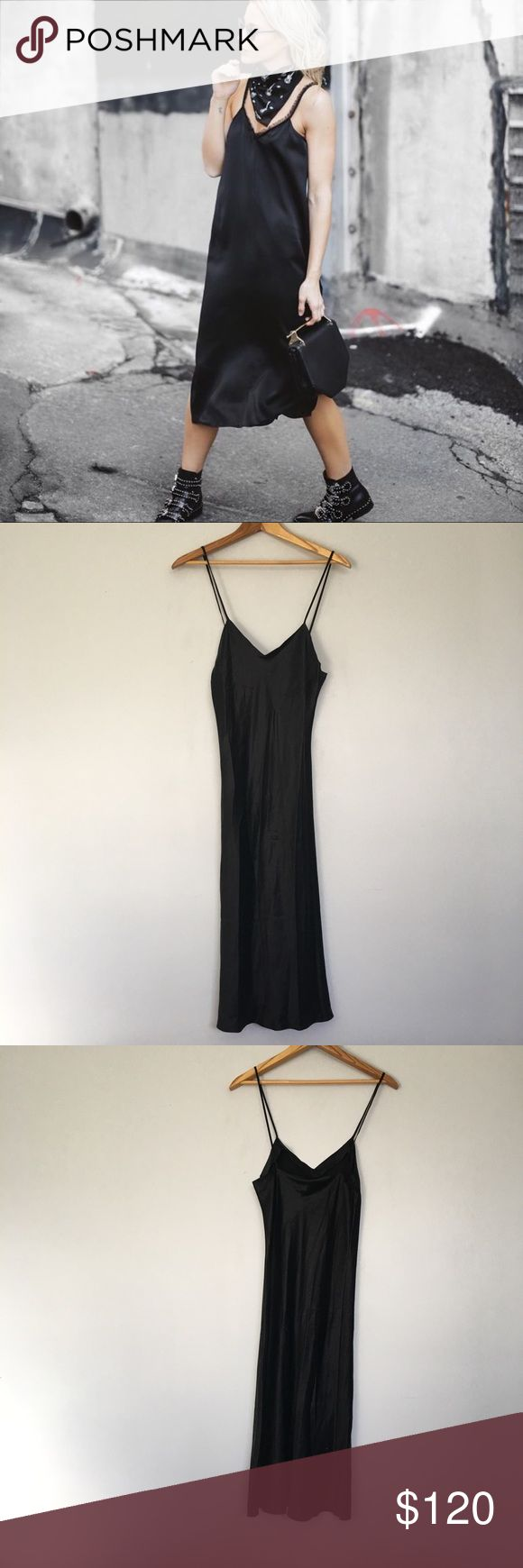 100% Silk Black Vintage Long Slip Dress SZ S 100% Silk Black Vintage Slip Dress SZ S. Perfect dress. Reminds me of something you would find at Reformation. First picture and last three are not actual item but for styling inspiration purposes only. lasoie Dresses Maxi