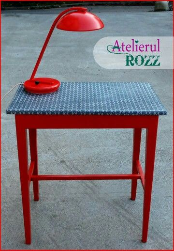 Red table and lamp