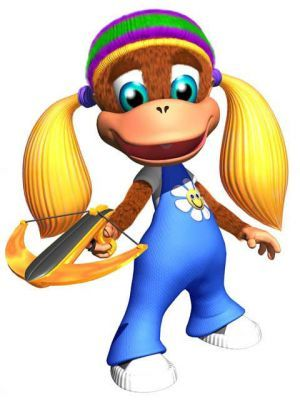 Tiny Kong: Donkey Kong series. She beats up K. Rool's minions with her feather crossbow and ponytails which are also used to slow her descent like a helicopter. Her instrument is the saxophone. The smallest of the Kongs, she can become even smaller with special barrels and use special pads to teleport to secret areas. Her boss in Donkey Kong 64 is Mad Jack.