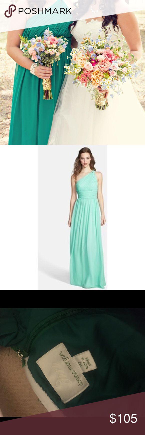 Donna Morgan Emerald One Shoulder Dress one shoulder | floor length | hidden side zipper | 100% polyester | dry clean only | only worn once Donna Morgan Dresses Wedding