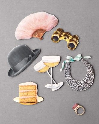 DIY Projects for your Wedding: Decoupage Photo Booth Props  Click to download Martha's clip art!