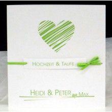Moderne Einladung zur Traufe in grün und weiß.