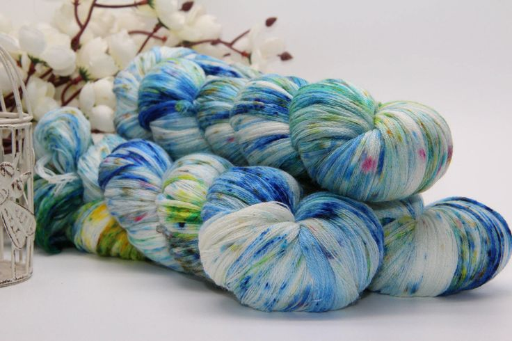 Hand dyeing,  Merino/Cashmere/silk, 284 yards/260 meters, dancing on Ice by PositiveCreative on Etsy