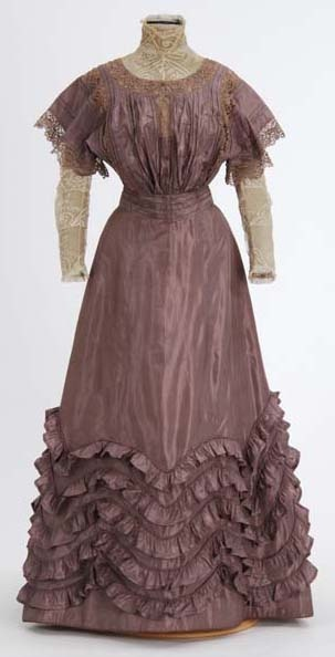 Lavender taffeta dress (front) by Minnesota Historical Society