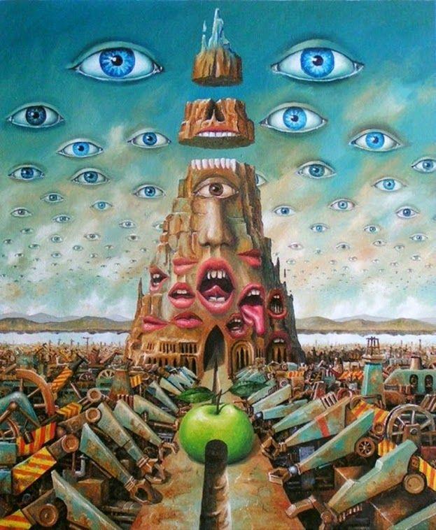 surrealistisch: het heeft een vreemde voorstelling, het is een dromerig schilderij. het is niet echt.