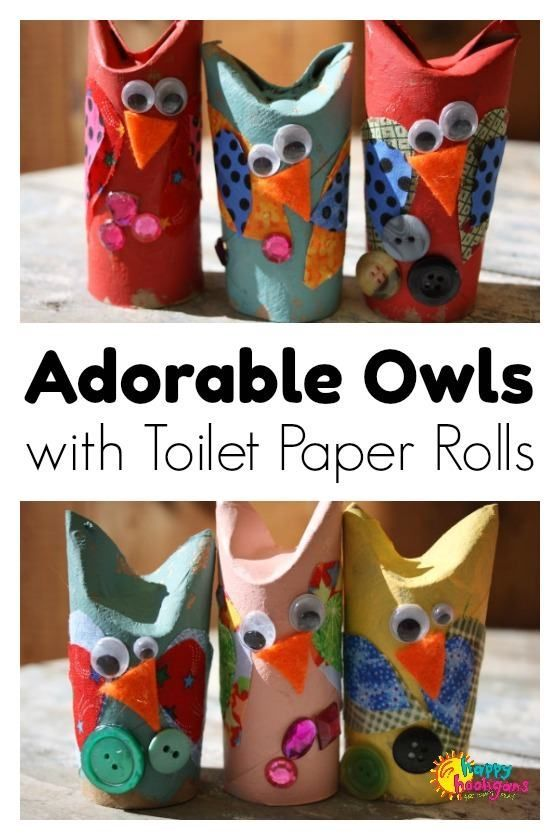 This adorable owl craft is a great fall craft for preschoolers. All you need are toilet paper rolls and some crafty odds and ends - Happy Hooligans