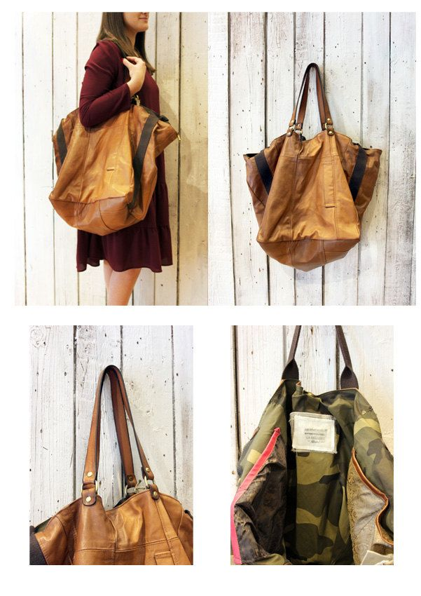FRANCESCA a beautiful handmade Italian Vintage Brown Leather bag\luggage di LaSellerieLimited su Etsy