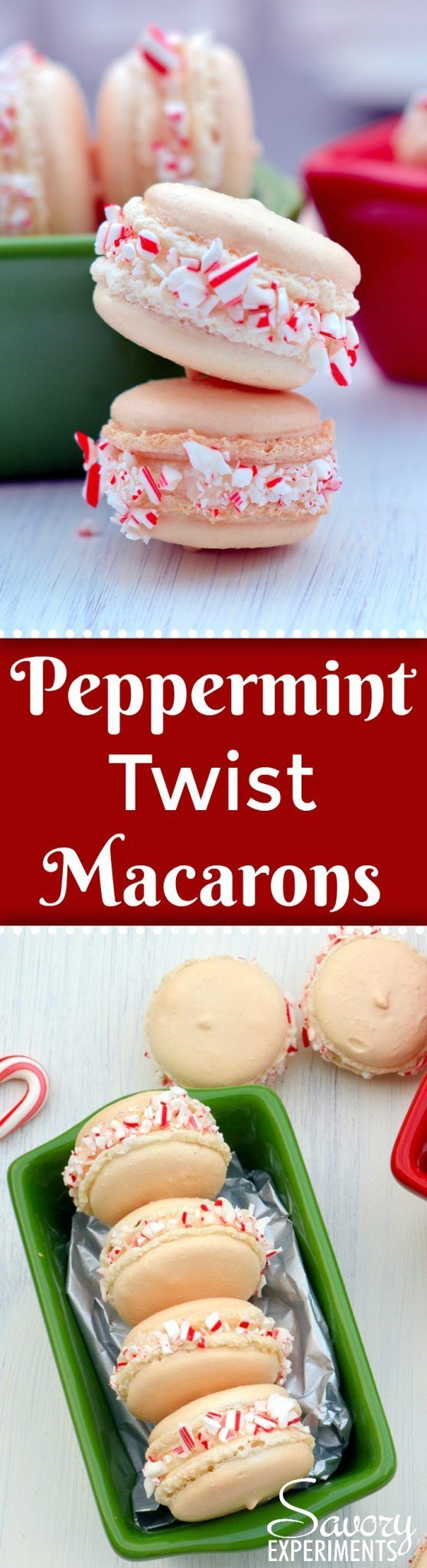 Peppermint Twist Macarons are an easy macaron recipe with a buttercream filling. Perfect recette macarons for Christmas cookies and holiday parties.#easymacaronrecipe #christmascookies www.savoryexperiments.com  via @savorycooking