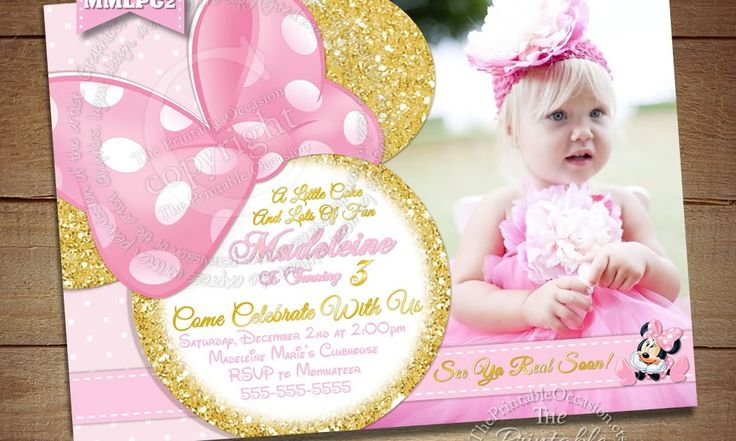 LIGHT PINK AND GOLD GLITTER MINNIE MOUSE BIRTHDAY INVITATION I can't tell you how fun this card was to create. Working with such soft hues in pinks and gold foil and glitter made me feel like a Disney princess the entire time. I admit.. I'm still a kid at heart as I truly lllllove everything Disney! Pink and Gold Minnie Mouse Invitation, Light Pink and Gold Glitter Minnie Mouse Invitation, Photo Invitation, Printable Invitation, Custom