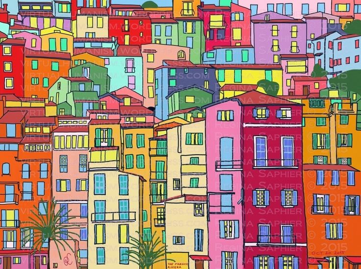The French Riviera by Regina Saphier freehand painting on digital medium October 20. 2015 (Dell Inspiron 7000 - Windows 8 - ArtRage)
