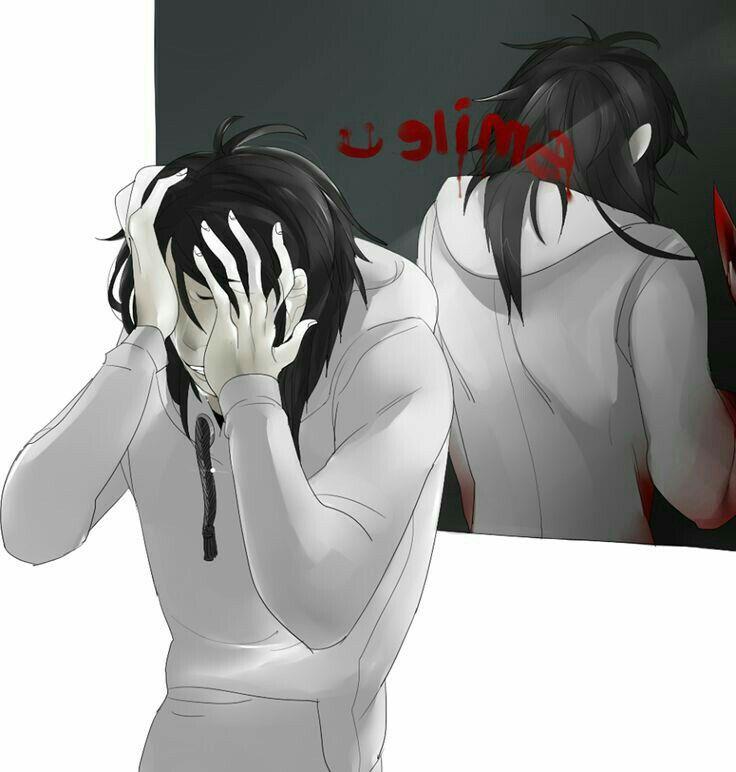 Smile, text, Jeff the Killer, sad, crying; Creepypasta