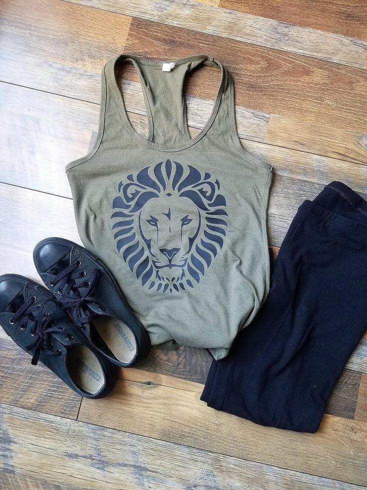 Lion Head Tank Top - Lion Tank Top - Aztec lion shirt - Womans Clothing - Womans Workout Clothes - Gym Clothes by FourSierra on Etsy