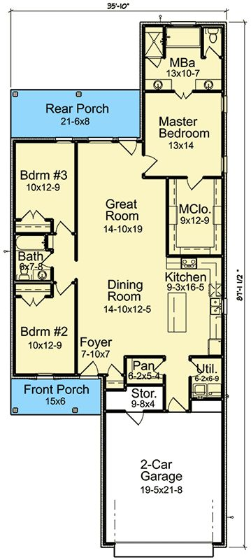 Plan 960021NCK: Three Bedrooms On A Narrow Lot