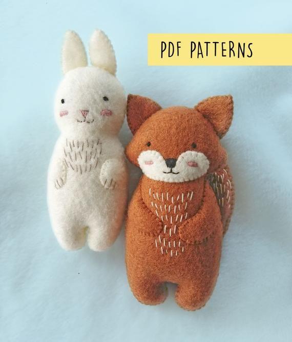 Woodland Animals Felt Fox and Rabbit Plush Soft Baby Toys PDF Pattern, Felt Animals Sewing Patterns Set for Baby and Nursery Decoration
