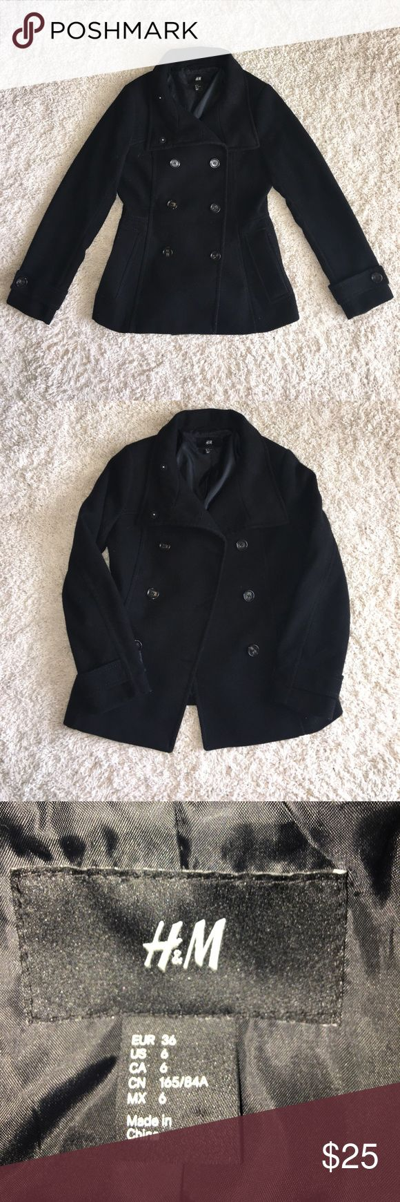 H&M Black Pea Coat Used and in good condition!  Very mild pilling. loveeeee this coat, but I have 50 coats!! Lots of life left! 😊 H&M Jackets & Coats Pea Coats