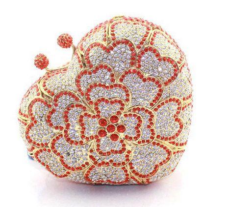 SWAROVSKI ELEMENTS Délicat Cœur d'argent rouge en forme de strass cristal métal cas boîte d'embrayage sac - cadeau Saint-Valentin!