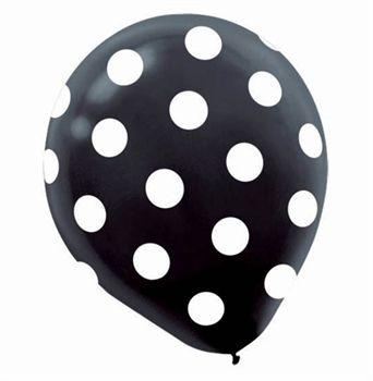 Black  Polka Dot Print Party Balloons