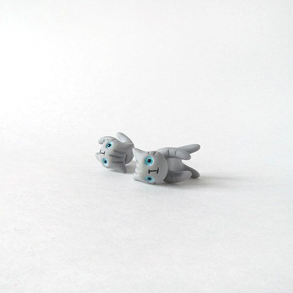 cats at DaWanda grey cats earrings on DaWanda.com