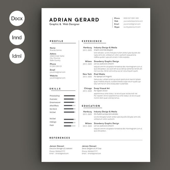 Minimal Resume By Estartshop On Creative Market  Creative Designs