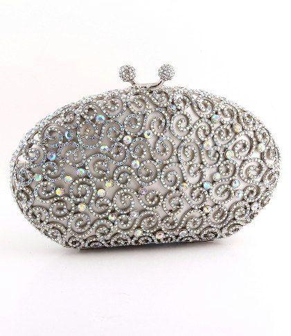 Handbags Clutch Purse Silver Clutch Jeweled Clutch by JPoliseno, $200.00