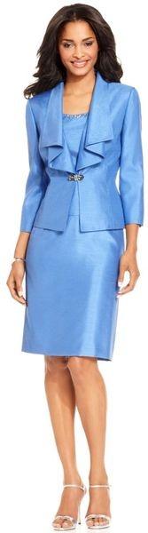 Tahari Threequartersleeve Ruffled Jacket Sleeveless Beaded Top Skirt | Keep the Glamour | BeStayBeautiful