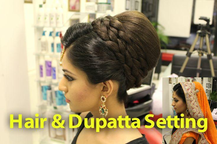 Indian, Pakistani, Asian Bridal Hair Style | Tikka & Dupatta Setting Tut...
