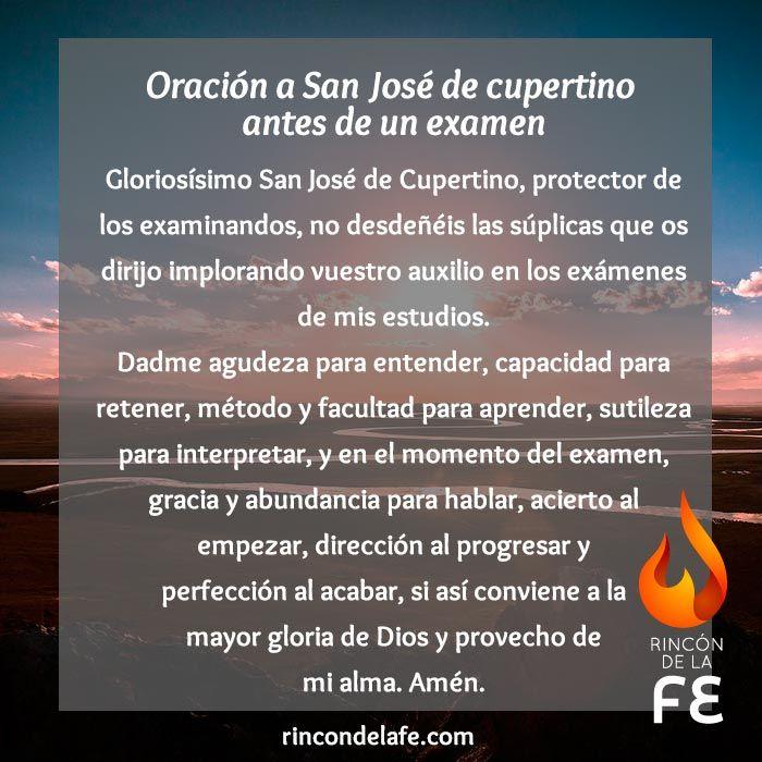 Usa la oración a San José de Cupertino antes de un examen. Muestra tu…