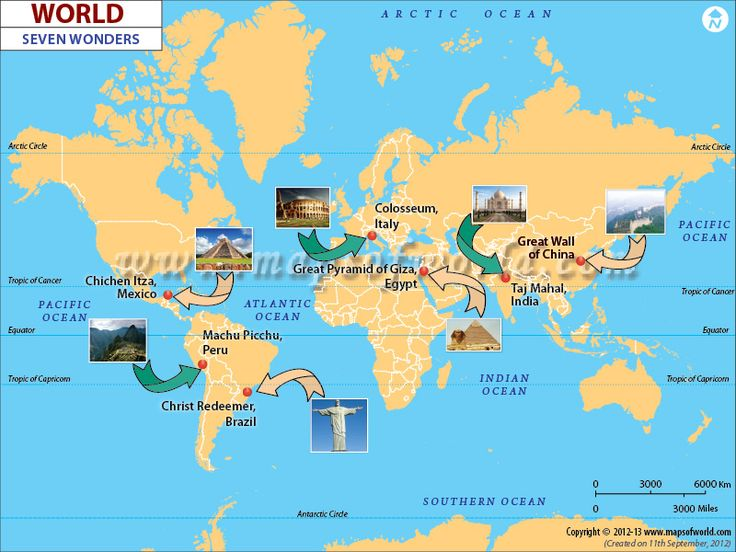 Map showing the Seven Wonders of the World as famous travel destinations.