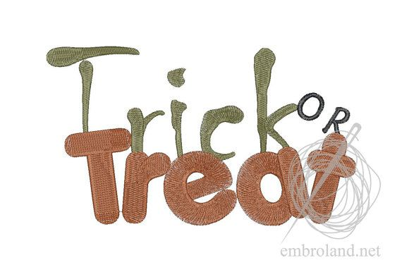 Trick or Treat - Machine Embroidery Design - Instant Download - Three sizes