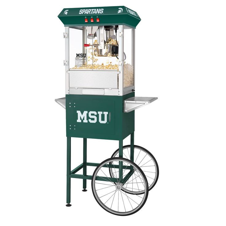 Great Northern Popcorn Company 6215 MSU 8OZ Full Michigan State University Spartans Popper Machine with Cart, 8 oz, Green
