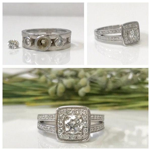 """What a beautiful sparkly """"after"""" for this ring. Took the centre stone from the above ring and made this amazing diamond halo setting. One very happy girl.  Don't let older jewellery pieces sit unworn. Call me and let's make something spectacular."""